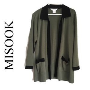 Misook contrast open front pocket cardigan size L